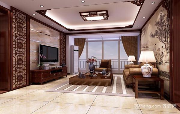2016别墅型中式客厅吊顶装修效果图实例