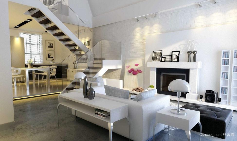 经典跃层北欧风格简约客厅装修效果图