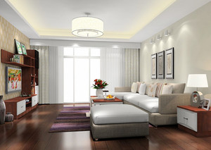 现代中式风格简约小客厅装修效果图
