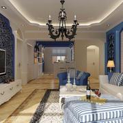 2016年全新款地中海风格客厅装修效果图