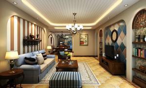 大户型地中海风格精致客厅电视背景墙装修效果图
