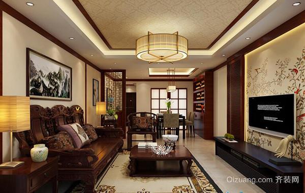 都市别墅型新中式客厅背景墙装修效果图