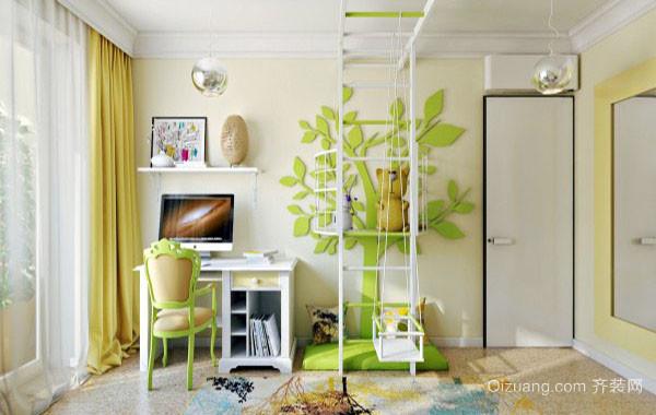 可爱时尚创意绿色天然主题儿童房装修效果图
