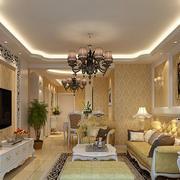 欧式风格简约时尚客厅效果图