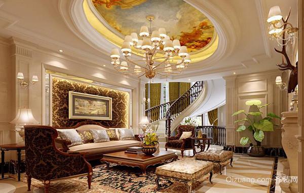 别墅欧式风格客厅电视背景墙装修效果图实例