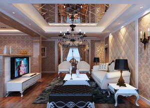 130平米欧式风格典雅时尚客厅装修效果图