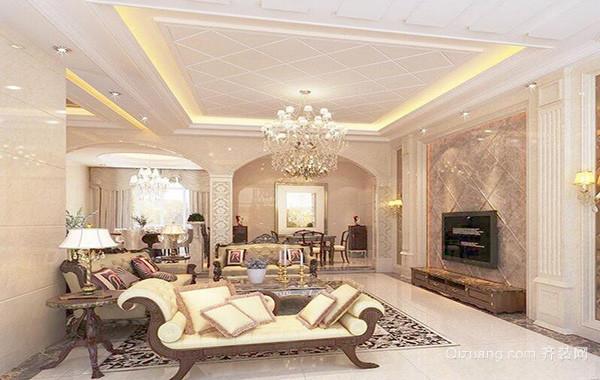 别墅欧式风格客厅电视背景墙装修效果图