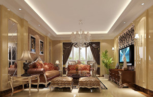 新古典欧式风格精美客厅吊灯设计装修效果图