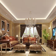 古典美式风格大户型客厅装修效果图
