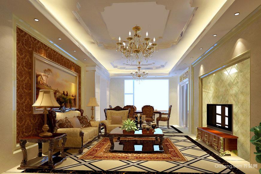 豪华别墅美式风格精致客厅装修效果图