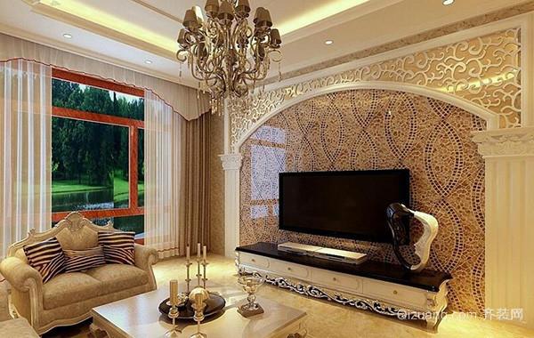 2016别墅欧式风格客厅电视背景墙装修效果图