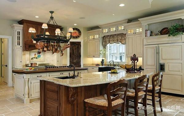 美式风格装修样板房厨房室内设计装修效果图