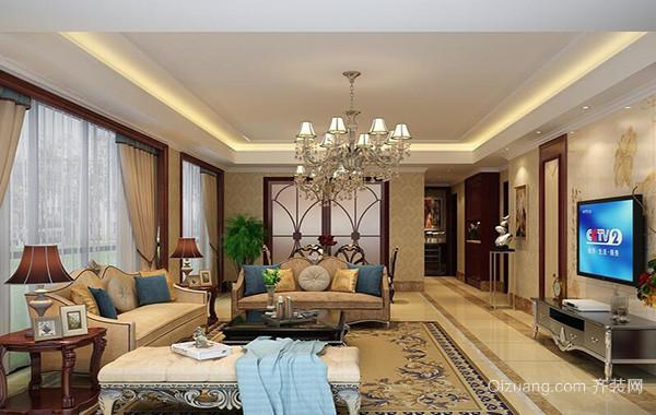 大户型美式风格客厅背景墙装修效果图实例