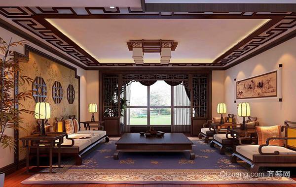 精美的中式大户型客厅吊顶装修效果图鉴赏