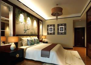 2016别墅型精致的中式卧室吊顶装修效果图