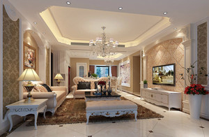 200平米别墅欧式风格典雅客厅华丽吊顶效果图