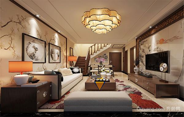 经典的别墅型中式客厅室内设计装修效果图
