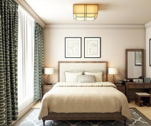 别墅型中式风格卧室背景墙装修效果图鉴赏