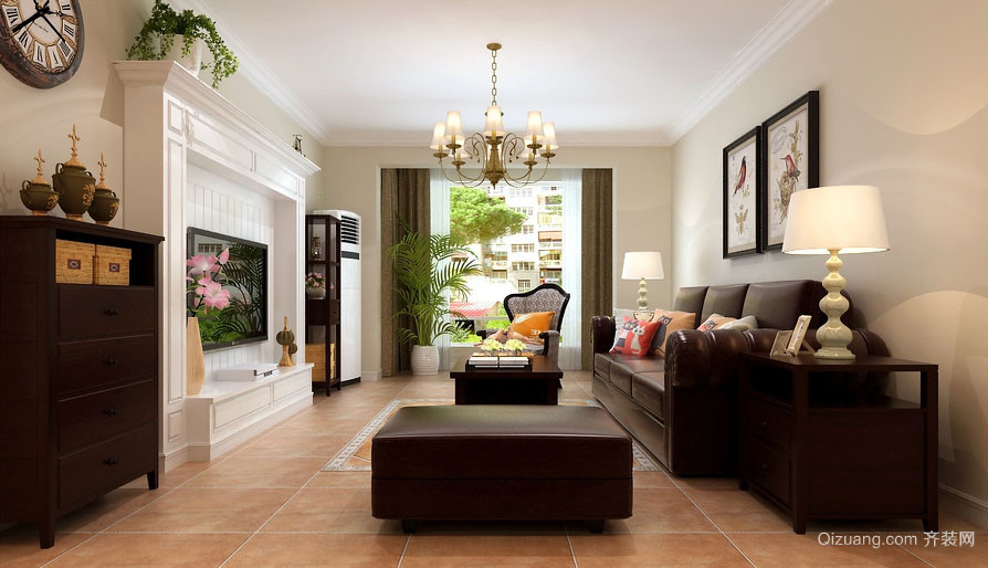 美式风格时尚混搭客厅电视背景墙装修效果图