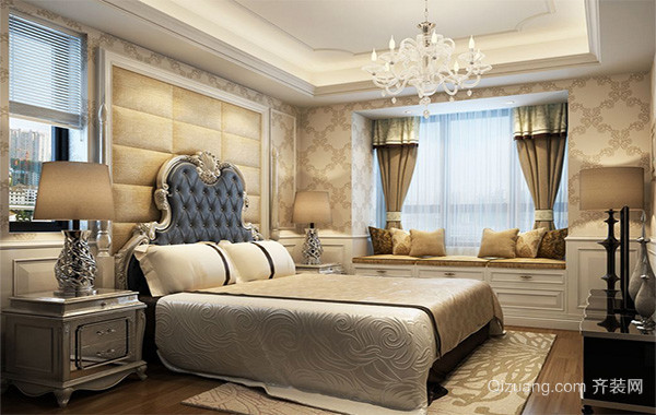 2016别墅欧式风格卧室背景墙装修效果图
