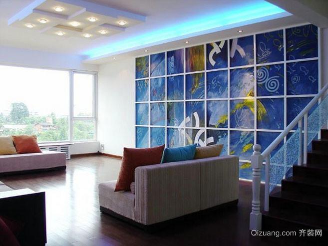 复式楼现代简约风格客厅装修效果图