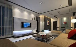 后现代风格简约时尚客厅电视背景墙装修效果图