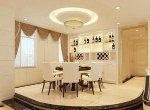 120平米欧式风格大户型餐厅背景墙装修效果图