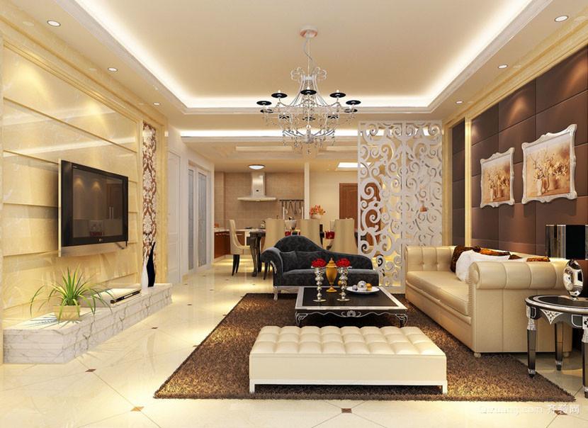 120平米三居室现代简约风格客厅装修效果图