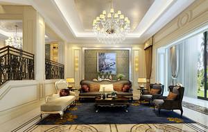 简欧风格大户型客厅精美吊顶装修效果图