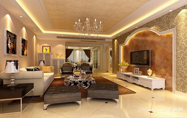 欧式风格大户型客厅吊顶装修效果图实例