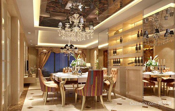 2016欧式餐厅吊顶室内设计装修效果图