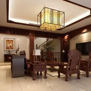 现代中式简约客厅效果图