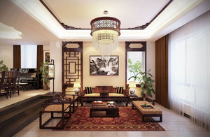 2016年现代中式风格客厅装修效果图