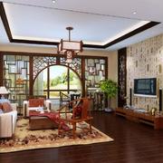 120平米三居室现代中式客厅屏风隔断装修效果图