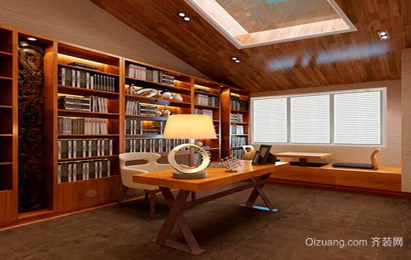 2016大户型中式风格书房吊顶装修效果图