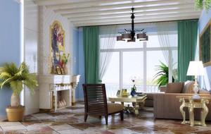 2016大户型地中海风格客厅背景墙装修效果图