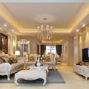 别墅型精致欧式风格精美客厅电视背景墙装修效果图
