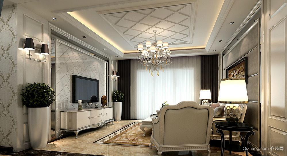 简欧风格精致典雅时尚客厅电视背景墙装修效果图
