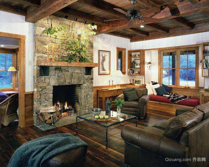 美式乡村风格粗犷富有历史气息客厅装修效果图