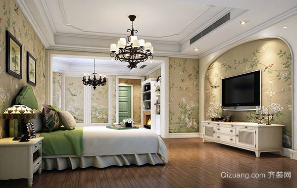 别墅型美式田园风格精致时尚卧室装修效果图