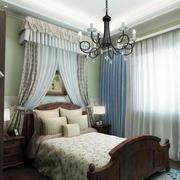 美式田园风格卧室窗帘设计