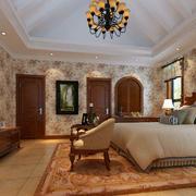 美式田园风格自然轻快卧室吊顶装修效果图