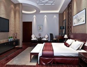 2016大户型中式风格卧室背景墙装修效果图