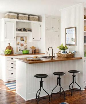 大户型现代简约风格精致厨房吧台装修效果图