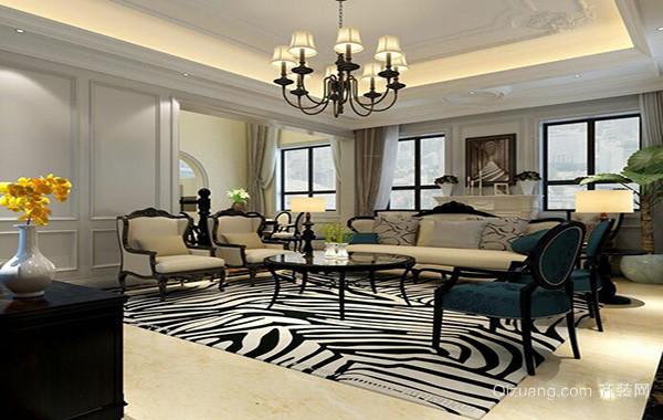 大户型美式风格室内客厅吊顶设计装修效果图