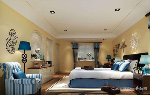别墅型地中海风格卧室背景墙装修效果图实例