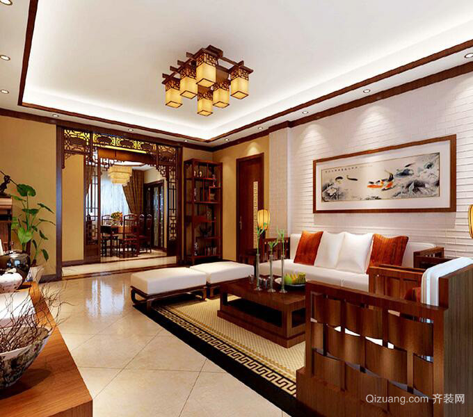 唯美的大户型中式客厅装修效果图实例