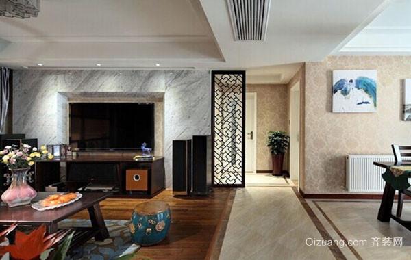 2016年现代中式风格三居室室内装修效果图实例