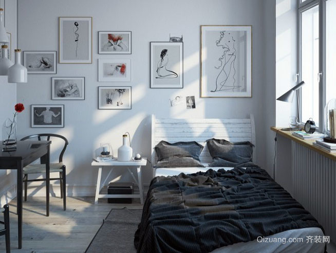 北欧风格自然简约时尚卧室装修效果图
