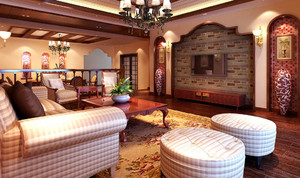 别墅型东南亚风格自然客厅电视背景墙装修效果图